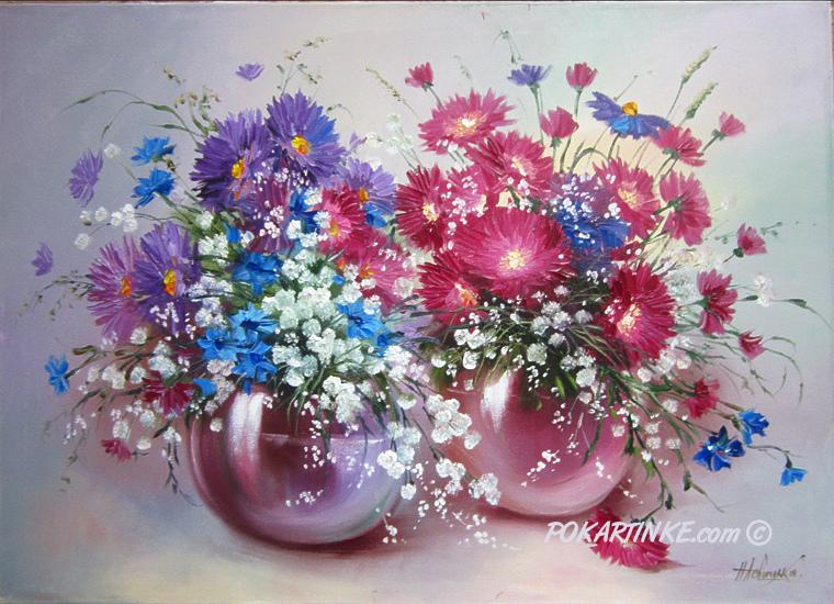 Два букета хризантем - картинная галерея PoKartinke.com
