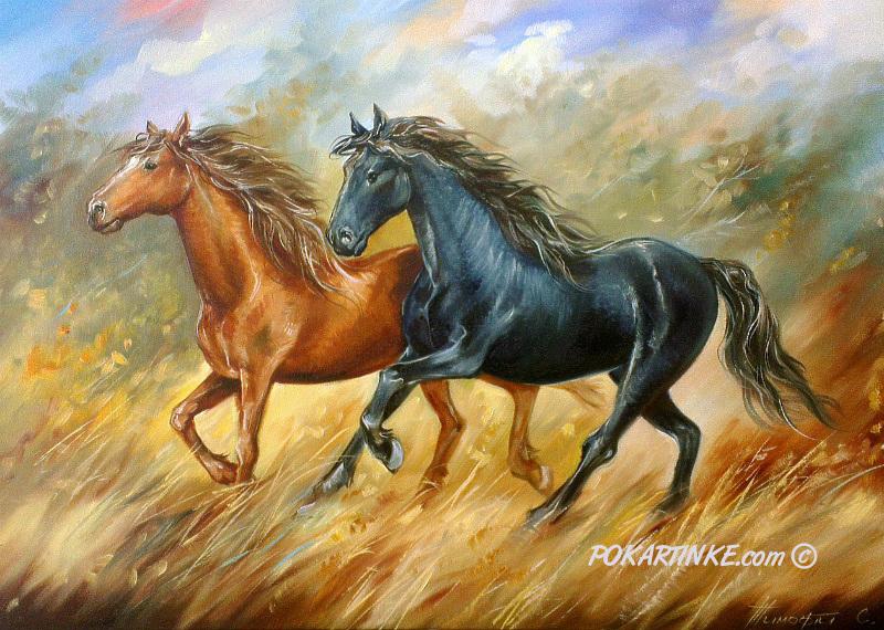 Running horses art