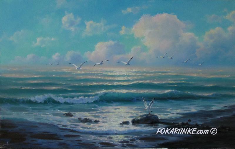 Чайки у моря - картинная галерея PoKartinke.com