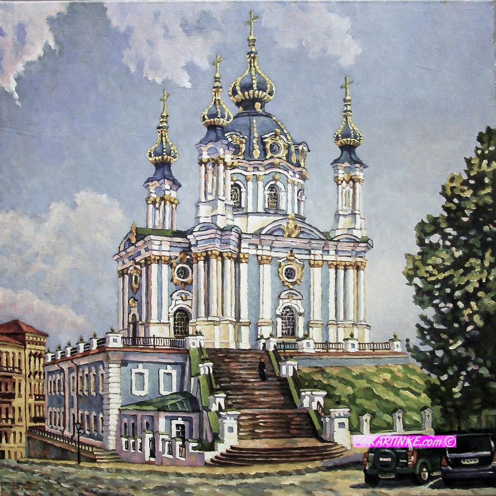 Вид на Андреевскую церковь - картинная галерея PoKartinke.com