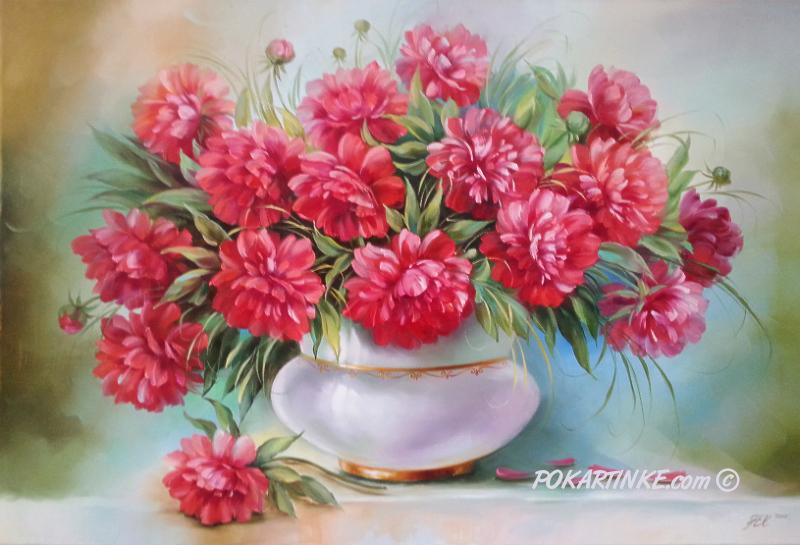 Пионы в белой вазе - картинная галерея PoKartinke.com