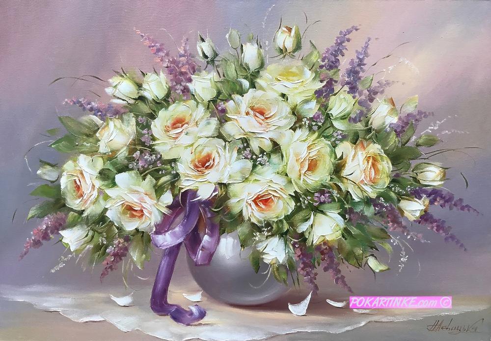 Розы с ленточкой - картинная галерея PoKartinke.com