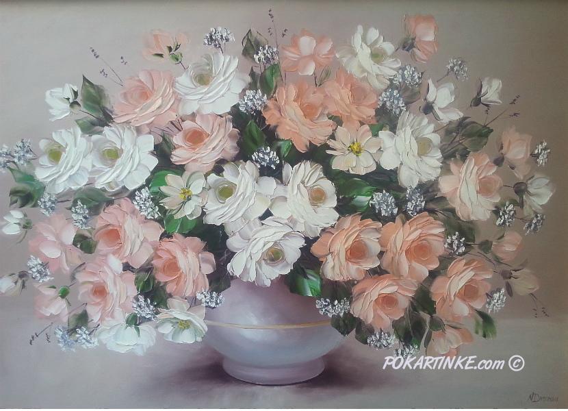 Бело-кремовые розы - картинная галерея PoKartinke.com
