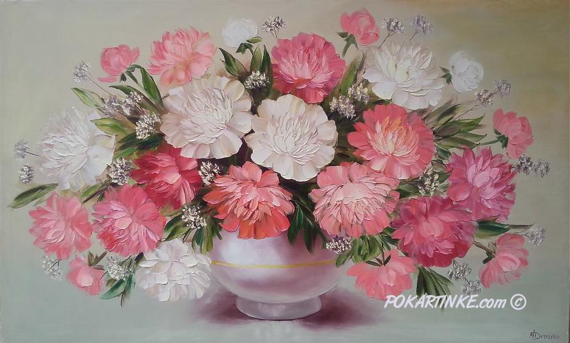 Бело-розовые пионы - картинная галерея PoKartinke.com