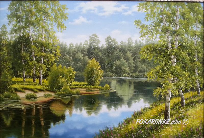 Березы над рекой - картинная галерея PoKartinke.com