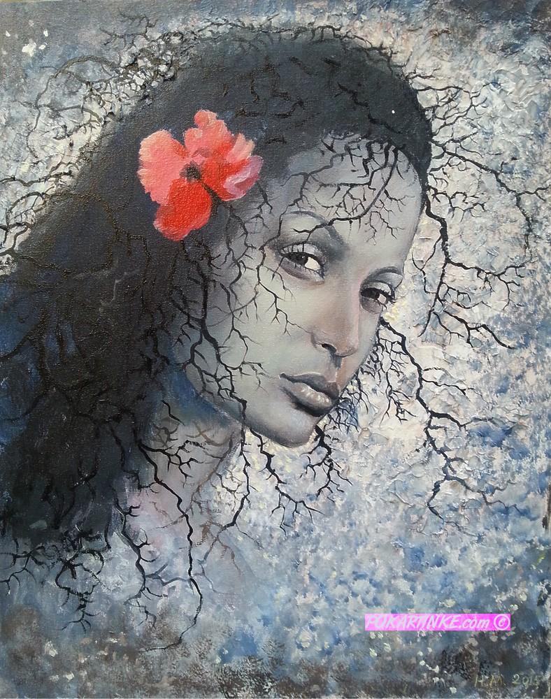 Девушка с красным цветком - картинная галерея PoKartinke.com