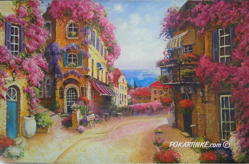 Цветущая улочка французского городка - картинная галерея PoKartinke.com