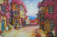Цветущая улочка французского городка