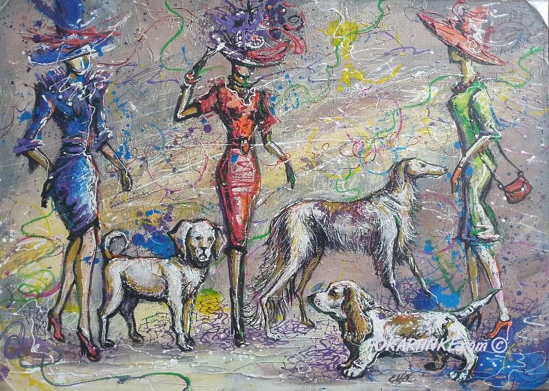 Дамы с собачками - картинная галерея PoKartinke.com
