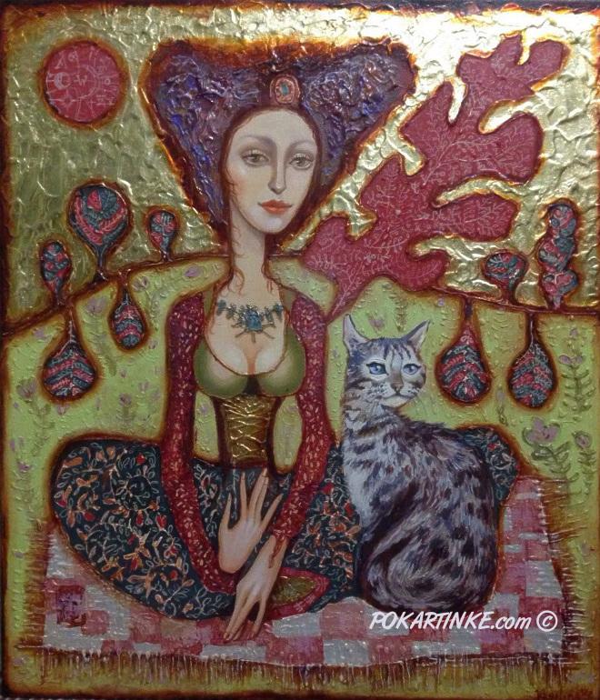 Девушка с котом - картинная галерея PoKartinke.com