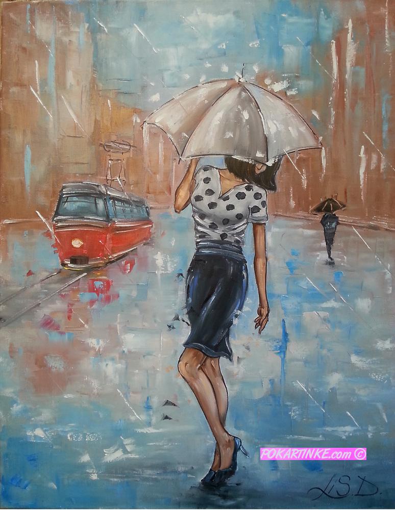 Дождь в городе - картинная галерея PoKartinke.com