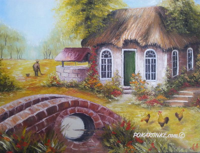 Дом и мост - картинная галерея PoKartinke.com