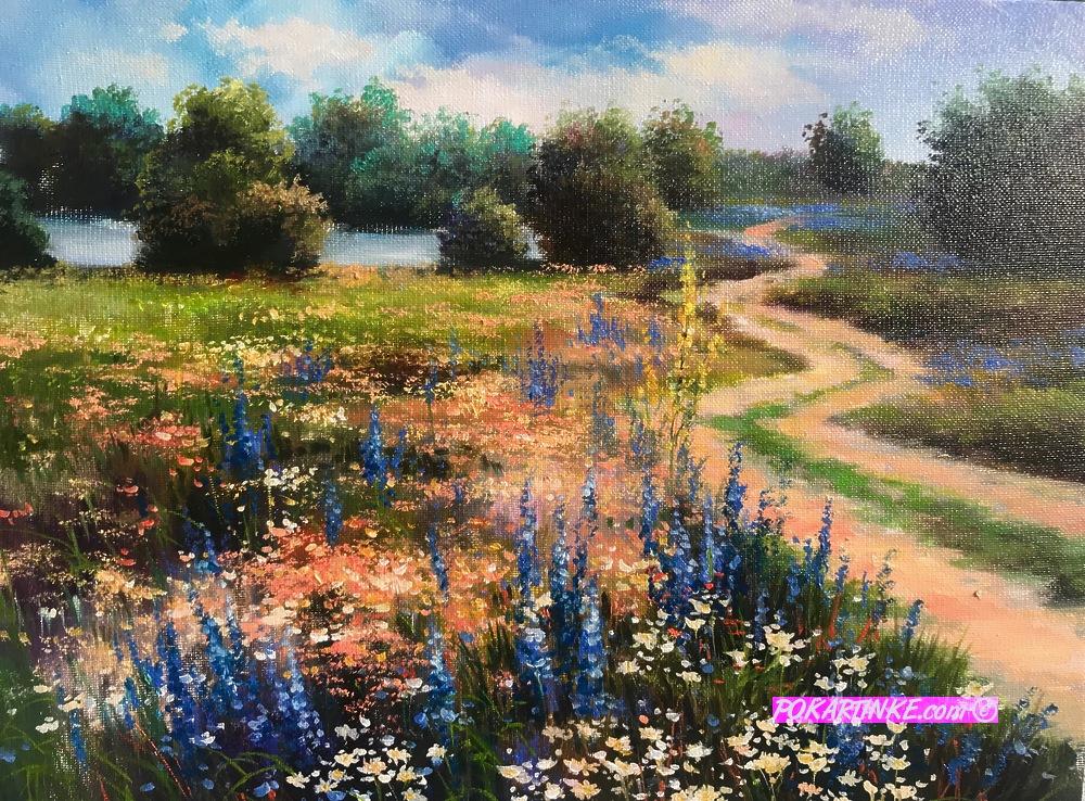 Дорога вдоль цветущих полей - картинная галерея PoKartinke.com