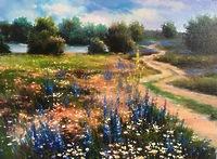 Дорога вдоль цветущих полей