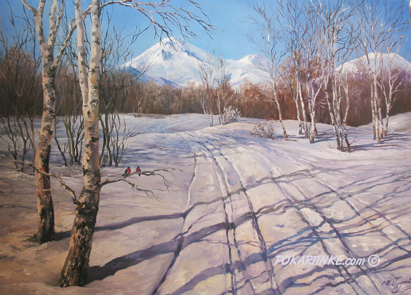 Зимняя дорога к горам - картинная галерея PoKartinke.com