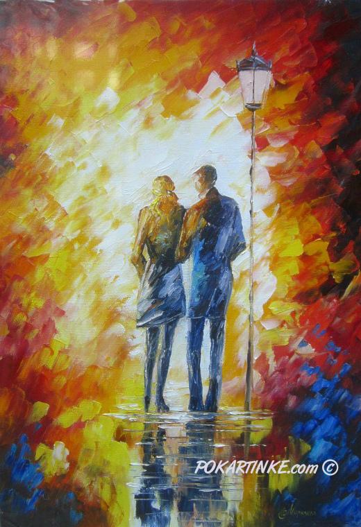 Двое под фонарем - картинная галерея PoKartinke.com