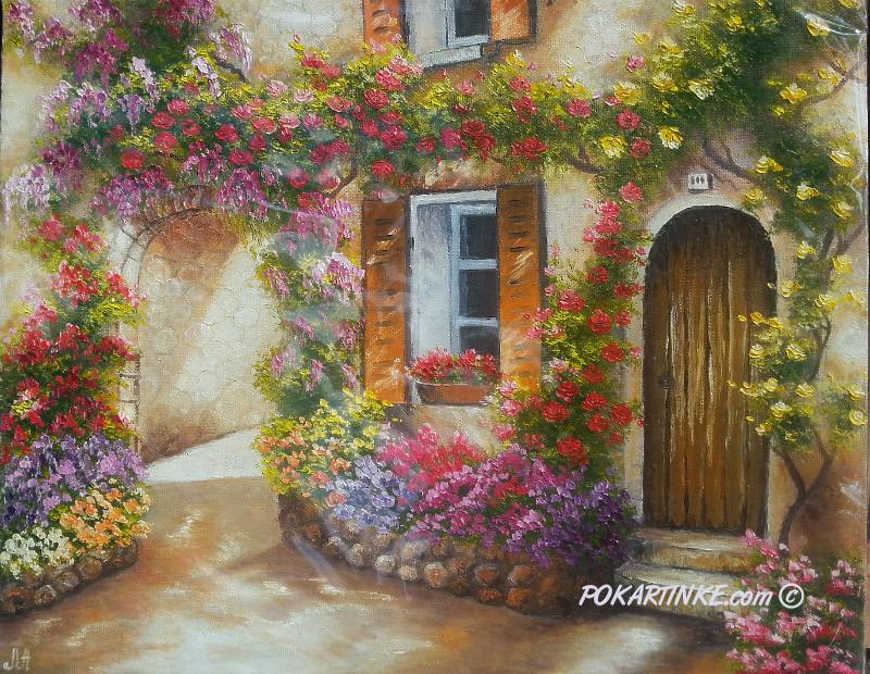Дворик в цветах - картинная галерея PoKartinke.com