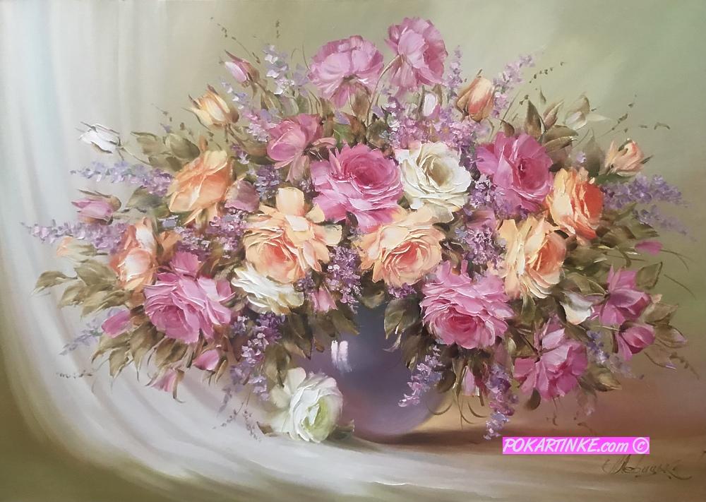 Букет кремовых и розовых роз - картинная галерея PoKartinke.com