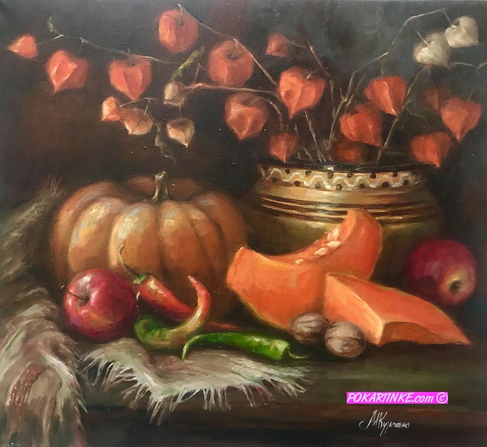 Натюрморт с тыквой и физалисом - картинная галерея PoKartinke.com