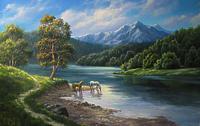 Лошадки на водопое