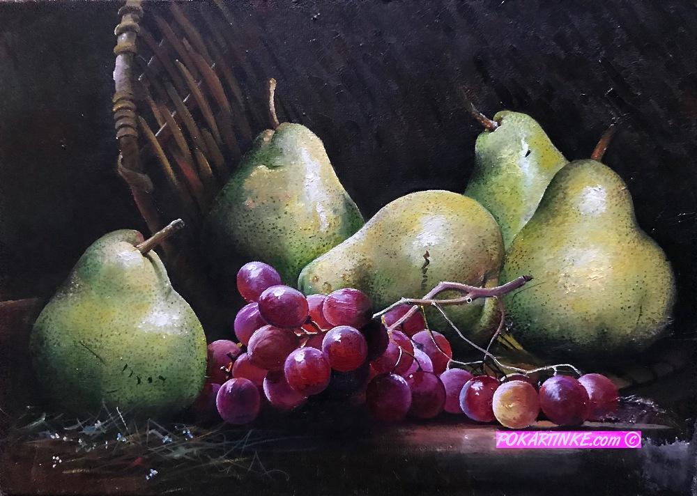 Груши с виноградом - картинная галерея PoKartinke.com