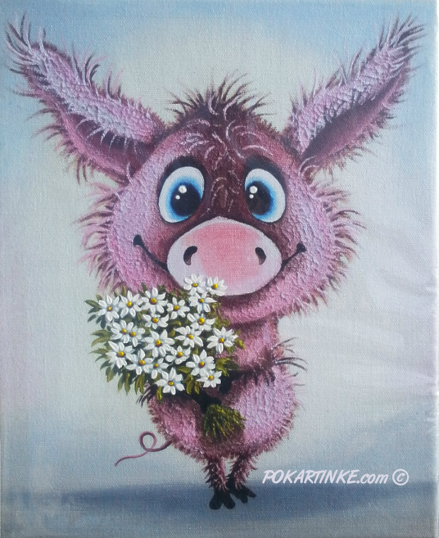 Хрюша с ромашками - картинная галерея PoKartinke.com