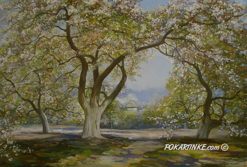 Яблони весной - картинная галерея PoKartinke.com