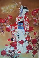 Японка в красных розах