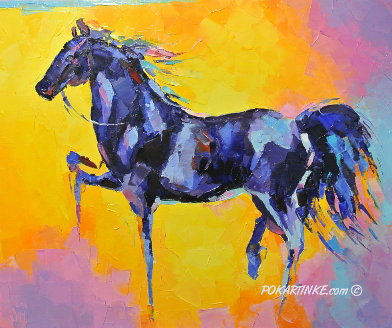 Конь в синих оттенках - картинная галерея PoKartinke.com