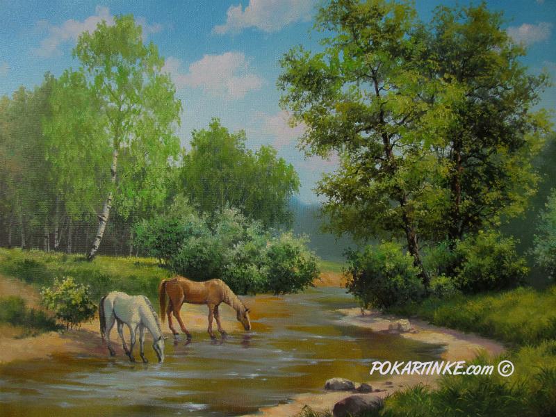 Кони у реки - картинная галерея PoKartinke.com