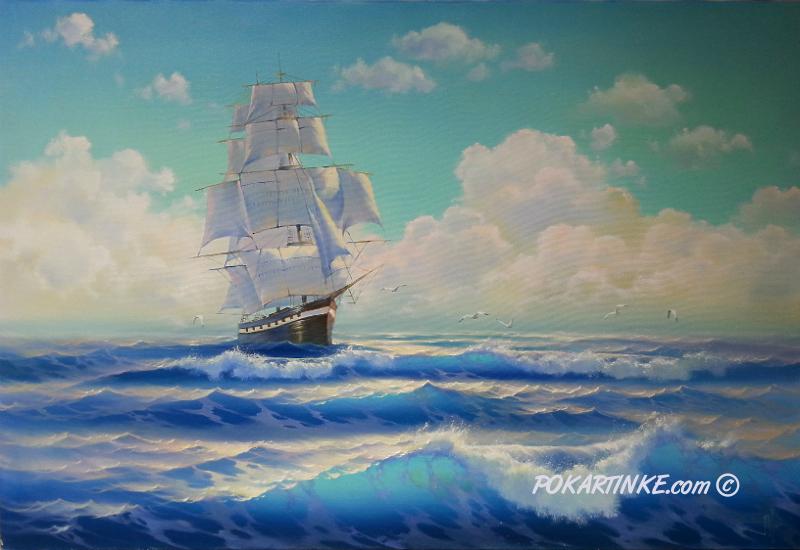 Корабль в море - картинная галерея PoKartinke.com