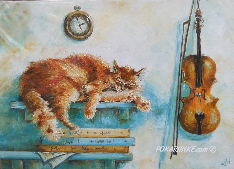 Кот и скрипка - картинная галерея PoKartinke.com