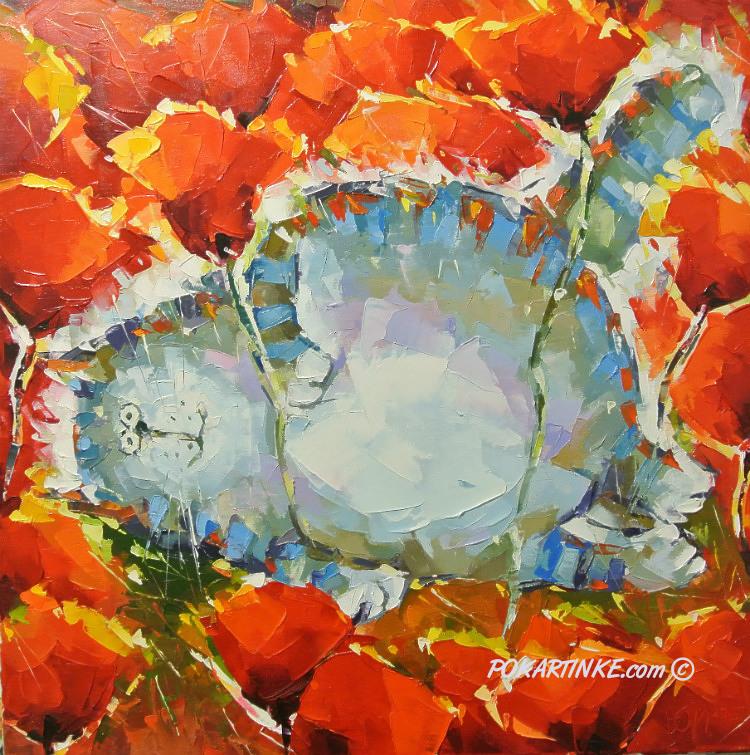 Кот в маках - картинная галерея PoKartinke.com