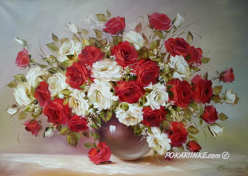Красные и белые розы - картинная галерея PoKartinke.com