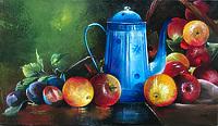 Кухонный натюрморт с яблоки и чайником