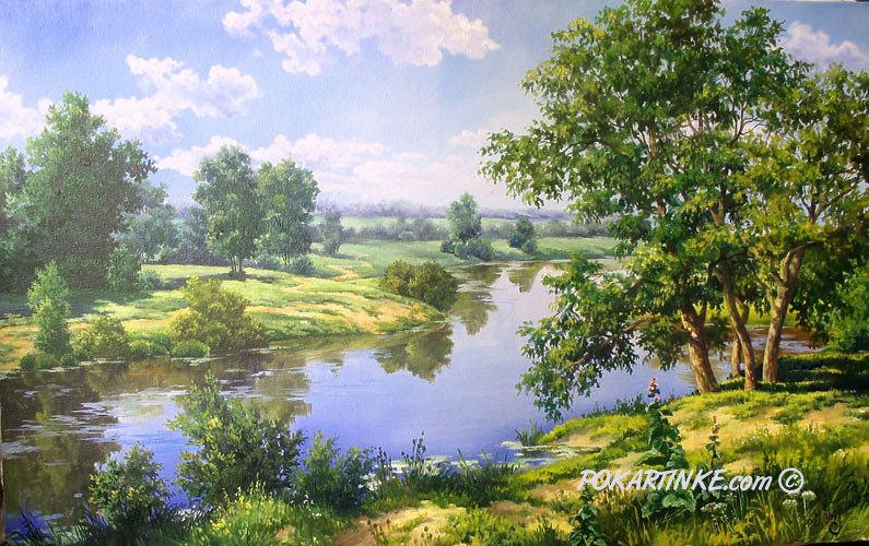 Летним днем у реки - картинная галерея PoKartinke.com