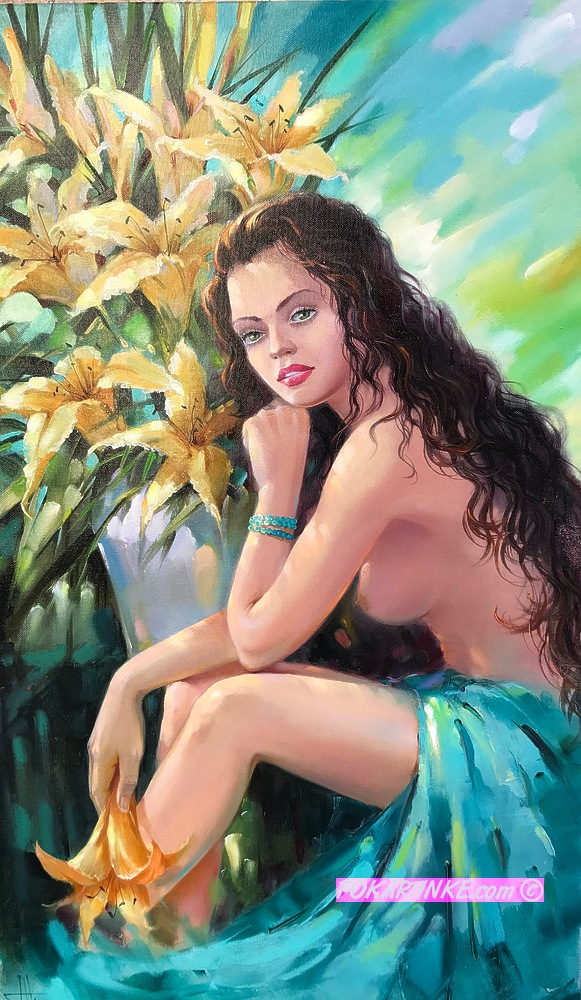 Девушка с лилиями - картинная галерея PoKartinke.com
