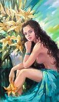 Девушка с лилиями