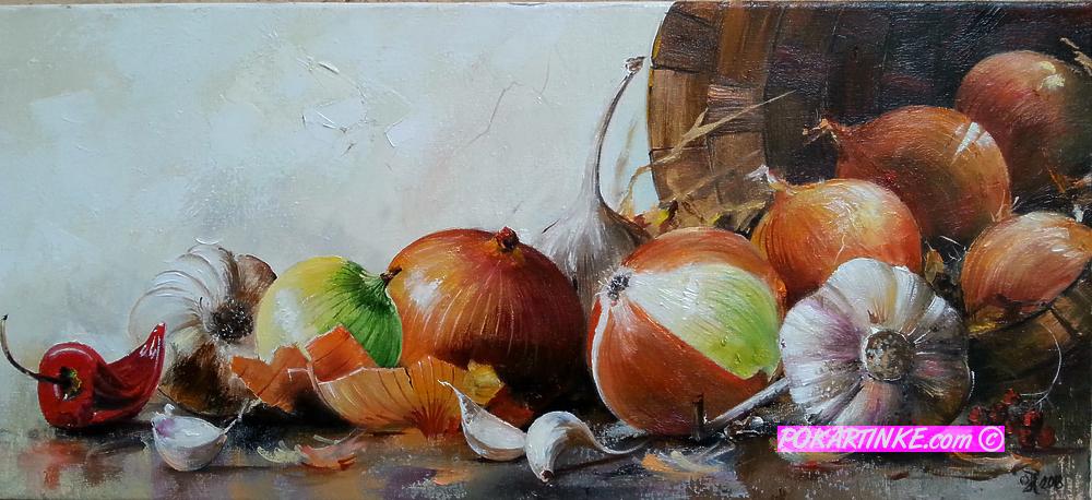 Натюрморт слуком, чесноком и перцем - картинная галерея PoKartinke.com