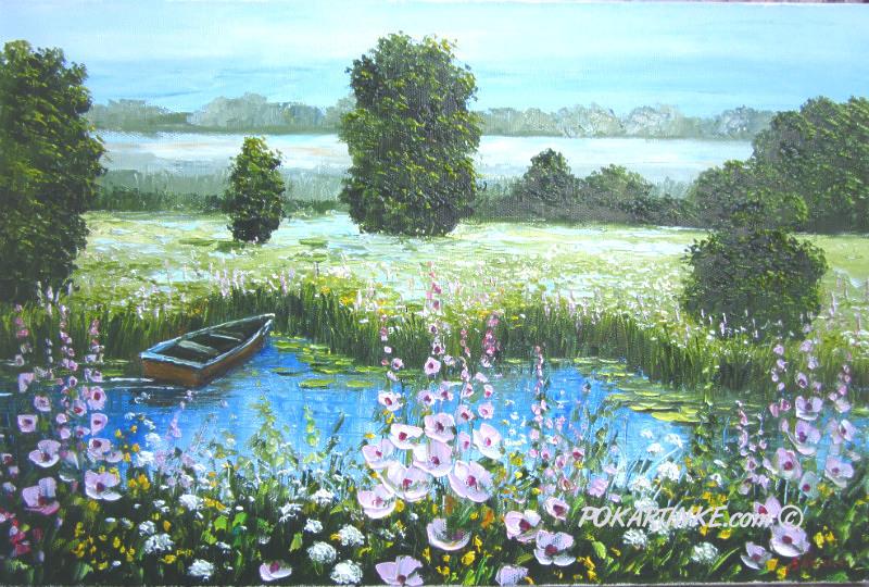Мальвы на озере - картинная галерея PoKartinke.com