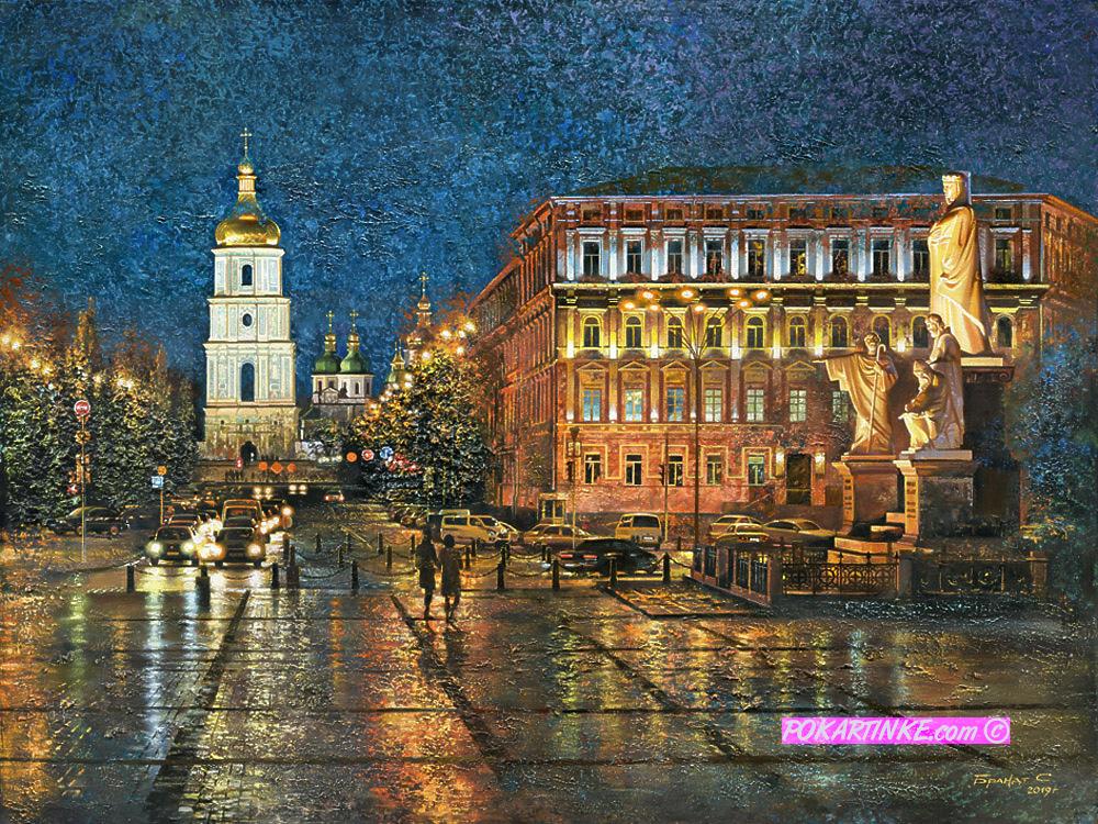 Вечерняя Михайловская площадь - картинная галерея PoKartinke.com