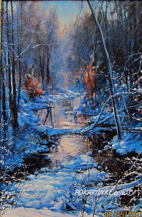 Морозным утром у ручья - картинная галерея PoKartinke.com