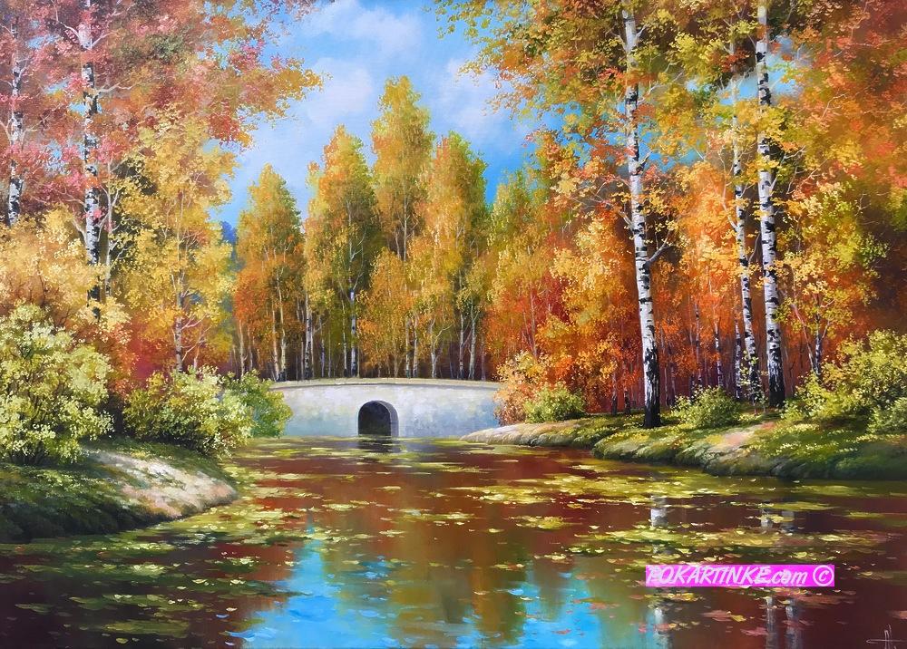 Каменный осенний мост - картинная галерея PoKartinke.com