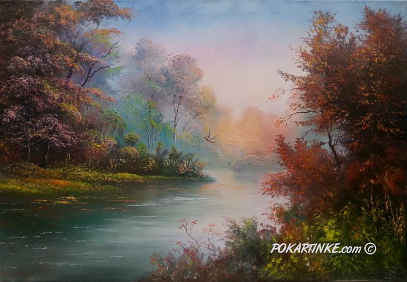 У осенней реки - картинная галерея PoKartinke.com