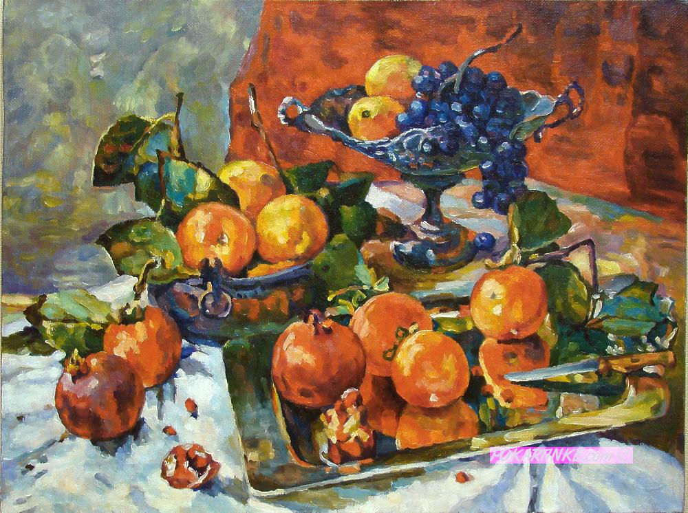 Натюрморт с гранатами - картинная галерея PoKartinke.com