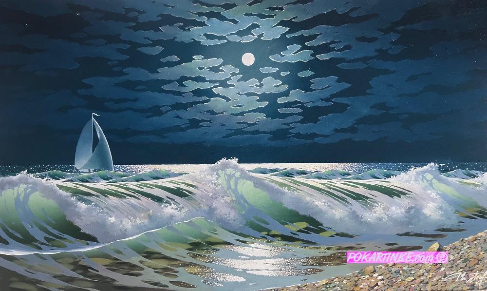 Ночной прибой - картинная галерея PoKartinke.com