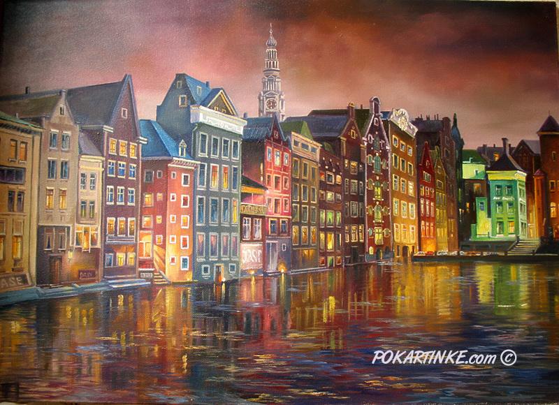 Ночной Амстердам - картинная галерея PoKartinke.com