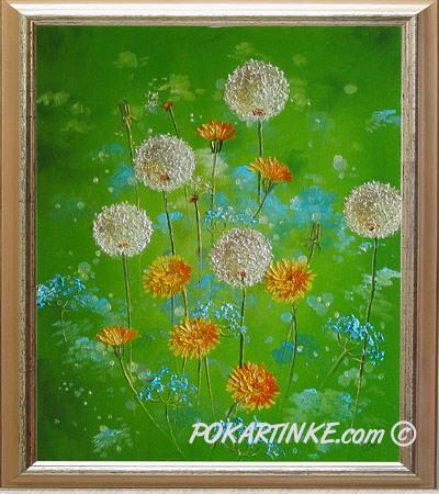 Цветы на зеленом - картинная галерея PoKartinke.com