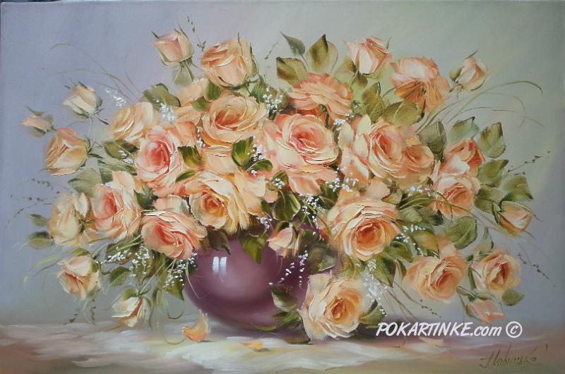 Персиковые розы - картинная галерея PoKartinke.com
