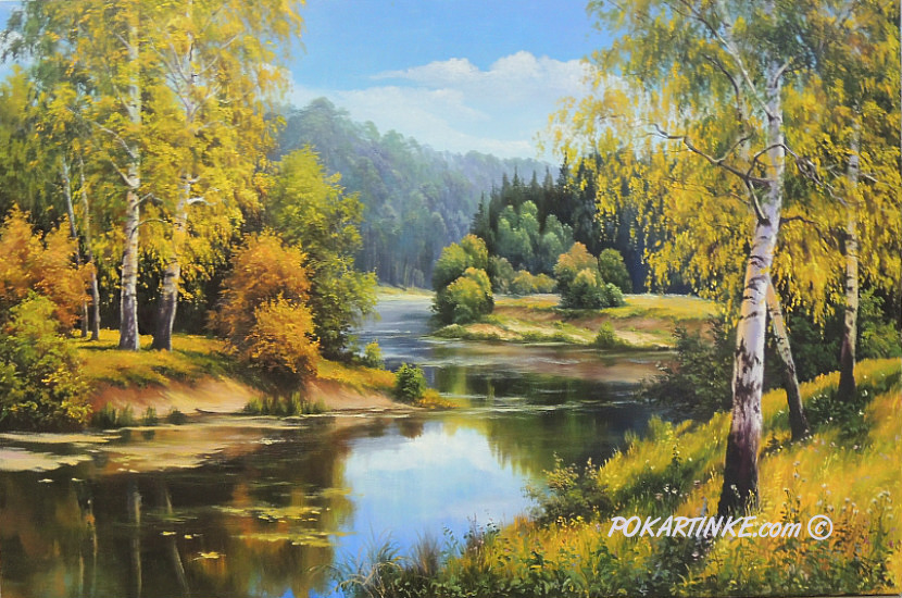 Осень на реке - картинная галерея PoKartinke.com